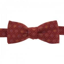 Burgundy Multicoloured Asanoha Japanese Bow Tie