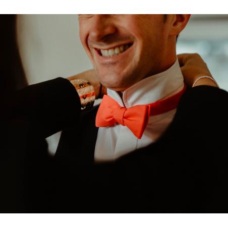 Plain Coral bow tie